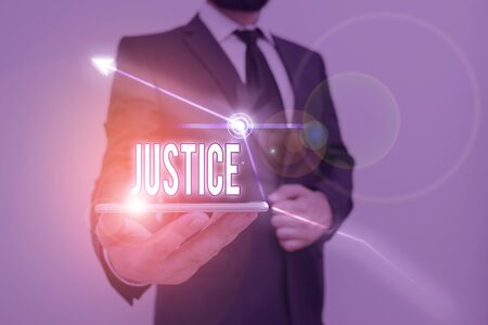 Handwriting text writing Justice. Conceptual photo Quality of being just impartial or fair Administration of law rules