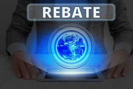 Text sign showing Rebate. Business photo text Huge rewards that can get when you engaged to a special promo Banco de Imagens