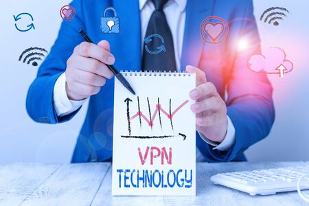 Writing note showing Vpn Technology. Business concept for programming that creates a safe and encrypted connection