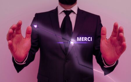 Conceptual hand writing showing Merci. Concept meaning what is said or response when someone helps you in France Thank you