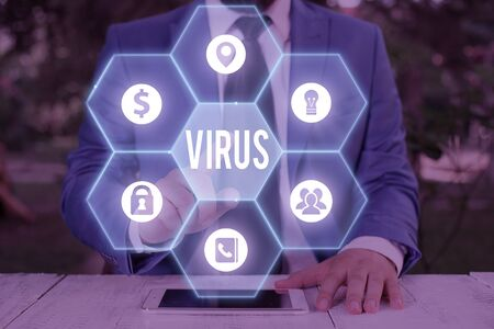 Text sign showing Virus. Business photo showcasing infective agent that consists nucleic acid molecule in protein coat