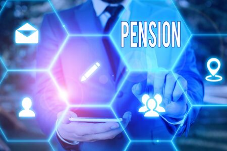 Word writing text Pension. Business photo showcasing Income seniors earn after retirement Saves for elderly years Reklamní fotografie