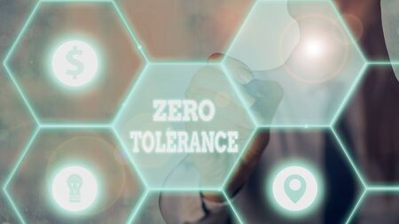 Word writing text Zero Tolerance. Business photo showcasing refusal to accept antisocial behaviour or improper behaviour Banque d'images