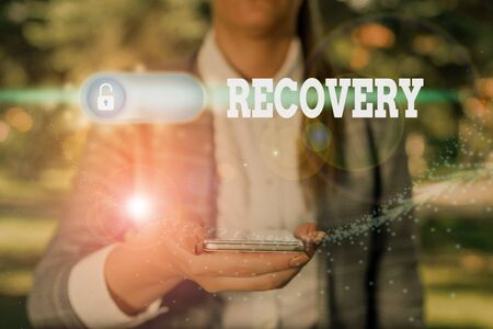 Text sign showing Recovery. Business photo showcasing the return to normal state of health mind or strength soon