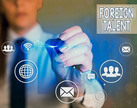 Word writing text Foreign Talent. Business photo showcasing foreigners with professional qualifications or degrees