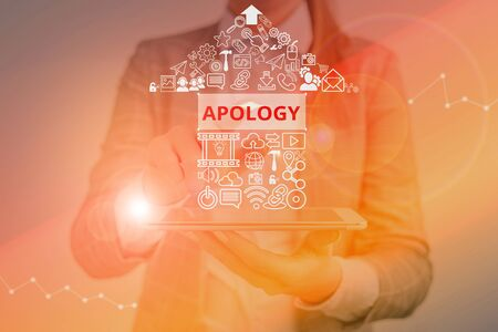 Writing note showing Apology. Business concept for a written or spoken expression of one s is regret remorse or sorrow