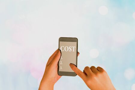 Writing note showing Cost. Business concept for The amount that usualy paid for a item you buy or hiring a demonstrating