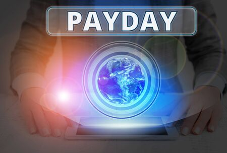 Text sign showing Payday. Business photo text a day on which someone is paid or expects to be paid their wages