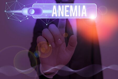 Word writing text Anemia. Business photo showcasing condition where there deficiency of red cells of haemoglobin in blood