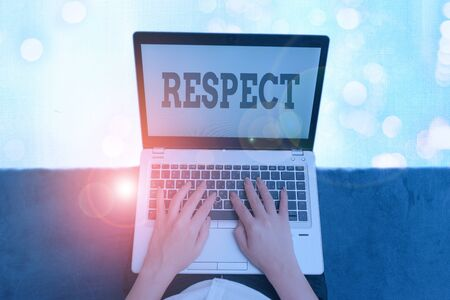 Text sign showing Respect. Business photo text Feeling of deep admiration for someone or something Appreciation
