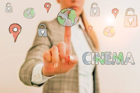 Word writing text Cinema. Business photo showcasing theater where movies are shown for public entertainment Movie theater