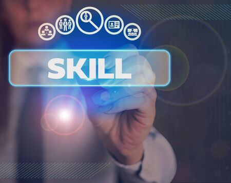 Word writing text Skill. Business photo showcasing ability to use one s is knowledge effectively and readily in execution