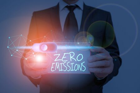 Text sign showing Zero Emissions. Business photo showcasing emits no waste products that pollute the environment Stock Photo