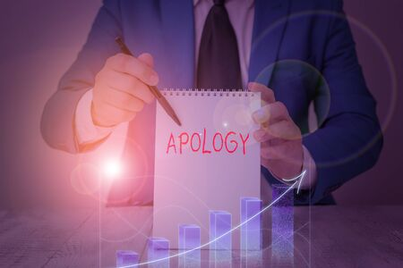 Conceptual hand writing showing Apology. Concept meaning a written or spoken expression of one s is regret remorse or sorrow