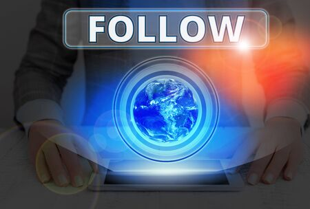 Text sign showing Follow. Business photo text to come after something in time or place or as part of a series Stock fotó