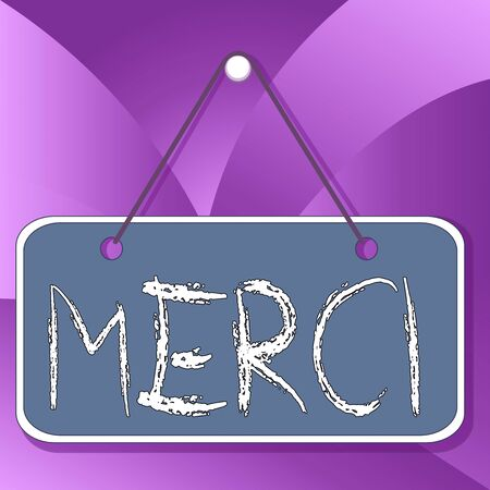 Handwriting text Merci. Conceptual photo what is said or response when someone helps you in France Thank you Colored memo reminder empty board blank space attach background rectangle Foto de archivo