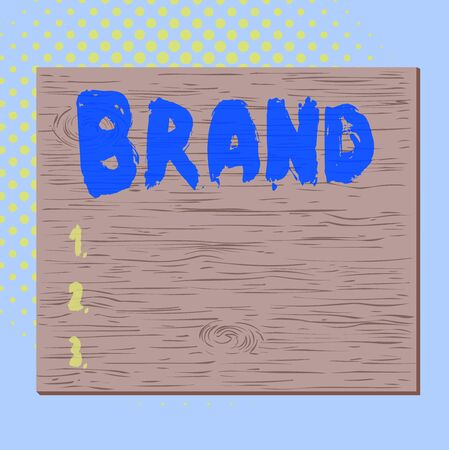 Word writing text Brand. Business photo showcasing Type of product manufactured by a company under a particular name Square rectangle unreal cartoon wood wooden nailed stuck on coloured wall 版權商用圖片