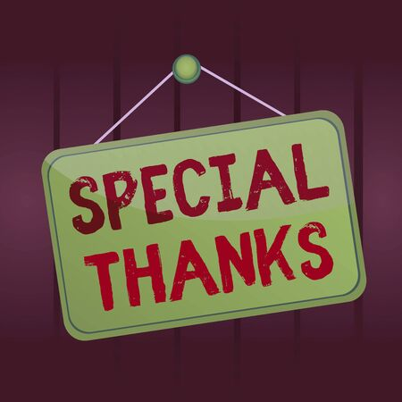 Writing note showing Special Thanks. Business concept for expression of appreciation or gratitude or an acknowledgment Memo reminder empty board attached background rectangle