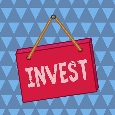 Text sign showing Invest. Business photo showcasing commercial venture with the expectation of achieving a profit Square rectangle unreal cartoon wood wooden hang down on the coloured wall