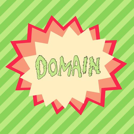 Conceptual hand writing showing Domain. Concept meaning an area of territory controlled by a particular ruler or government Asymmetrical uneven shaped pattern object multicolour design Standard-Bild