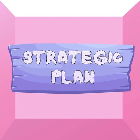 Conceptual hand writing showing Strategic Plan. Concept meaning analysisagement activity that is used to set and focus priorities Wooden board rectangle shaped wood attached color background