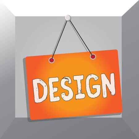 Conceptual hand writing showing Design. Concept meaning plan drawing produced to show look function or workings of building Memo reminder empty board attached background rectangle