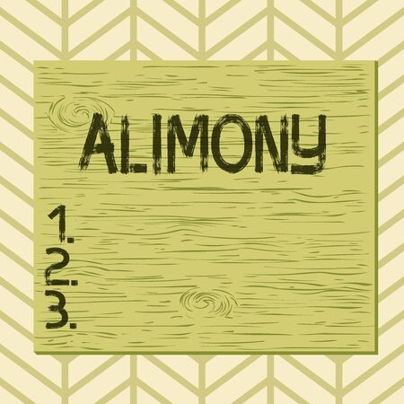 Writing note showing Alimony. Business concept for money paid to either husband or wife after a divorce by court order Square rectangle unreal cartoon wood on the coloured wall