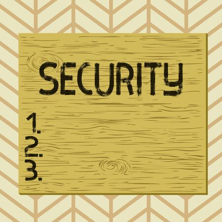 Writing note showing Security. Business concept for measures taken to be safe Quality or state of being secure Square rectangle unreal cartoon wood on the coloured wall Stock Photo