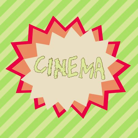 Conceptual hand writing showing Cinema. Concept meaning theater where movies are shown for public entertainment Movie theater Asymmetrical uneven shaped pattern object multicolour design