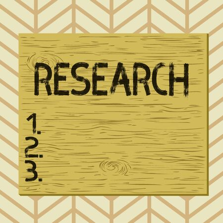 Writing note showing Research. Business concept for systematic investigation into and study of materials and sources Square rectangle unreal cartoon wood on the coloured wall Stock Photo