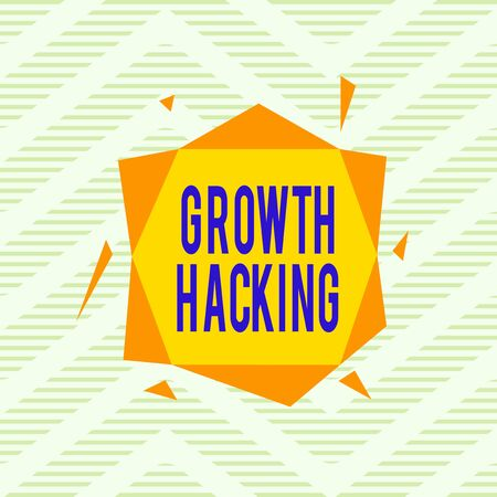Word writing text Growth Hacking. Business photo showcasing activity of trying different methods to make a company larger Asymmetrical uneven shaped format pattern object outline multicolour design Stock fotó