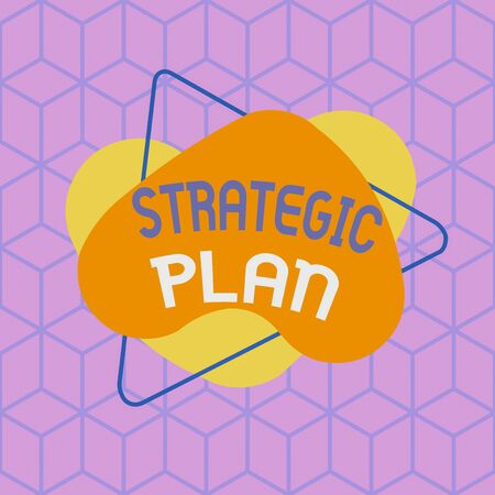 Conceptual hand writing showing Strategic Plan. Concept meaning analysisagement activity that is used to set and focus priorities Asymmetrical format pattern object outline multicolor design Banco de Imagens