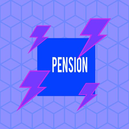 Writing note showing Pension. Business concept for Income seniors earn after retirement Saves for elderly years Asymmetrical format pattern object outline multicolor design Reklamní fotografie