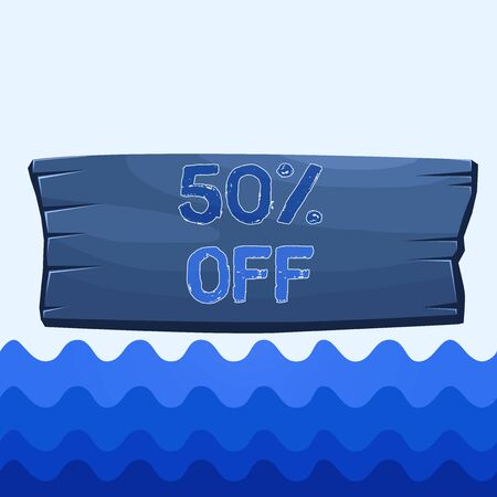 Conceptual hand writing showing 50 Percent Off. Concept meaning 50 percent reduction on the original price of a product Wooden board rectangle shaped wood attached color background