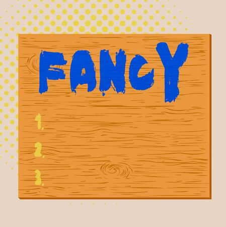 Word writing text Fancy. Business photo showcasing a feeling of liking or attraction one that is superficial or transient Square rectangle unreal cartoon wood wooden nailed stuck on coloured wall 版權商用圖片