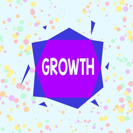 Handwriting text Growth. Conceptual photo process of increasing in size or juice Getting older Ageing Asymmetrical uneven shaped format pattern object outline multicolour design Stockfoto