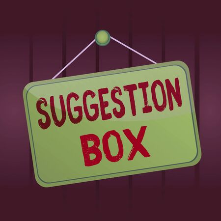 Writing note showing Suggestion Box. Business concept for container which showing can leave comments about something Memo reminder empty board attached background rectangle Foto de archivo
