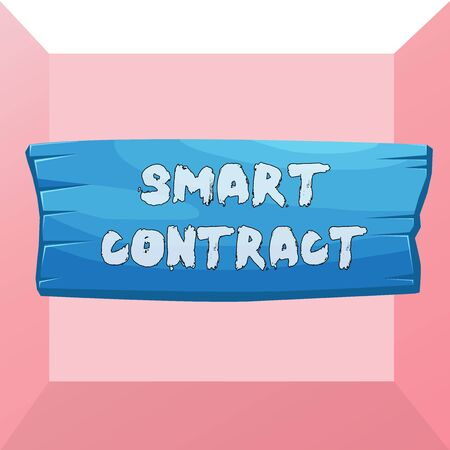 Conceptual hand writing showing Smart Contract. Concept meaning the computer protocol running on top of a block chain Wooden board rectangle shaped wood attached color background