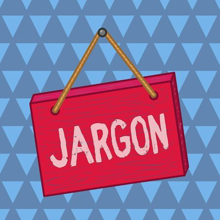 Text sign showing Jargon. Business photo showcasing special words or expressions that are used by a particular profession Square rectangle unreal cartoon wood wooden hang down on the coloured wall