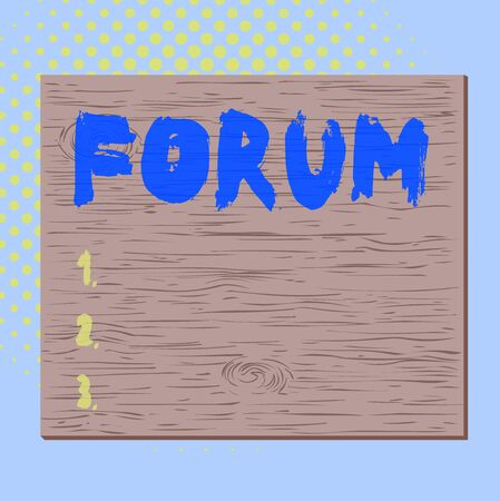 Word writing text Forum. Business photo showcasing the place or section of a website that is used for public discussion Square rectangle unreal cartoon wood wooden nailed stuck on coloured wall Foto de archivo
