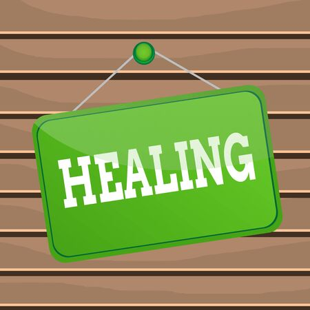Conceptual hand writing showing Healing. Concept meaning process of making or becoming sound or healthy again Helping injured Memo reminder empty board attached background rectangle