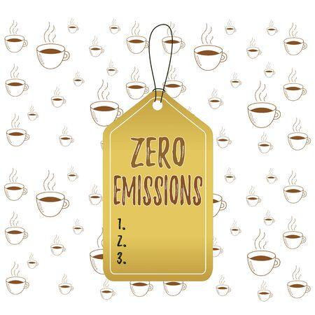 Writing note showing Zero Emissions. Business concept for emits no waste products that pollute the environment Empty tag colorful background label rectangle attach string Stock Photo