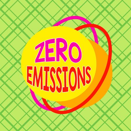 Conceptual hand writing showing Zero Emissions. Concept meaning emits no waste products that pollute the environment Asymmetrical format pattern object outline multicolor design