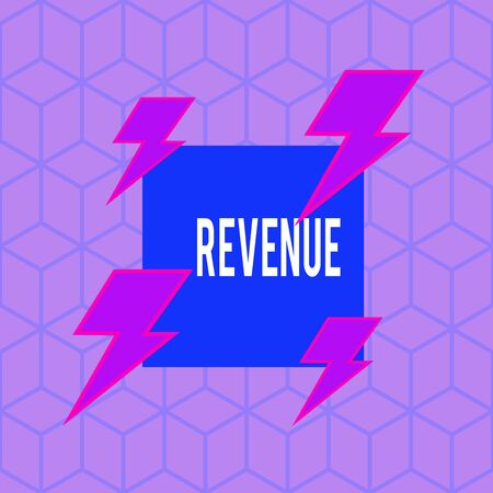 Writing note showing Revenue. Business concept for total amount of income generated by the sale of goods or services Asymmetrical format pattern object outline multicolor design Reklamní fotografie