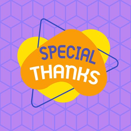 Conceptual hand writing showing Special Thanks. Concept meaning expression of appreciation or gratitude or an acknowledgment Asymmetrical format pattern object outline multicolor design