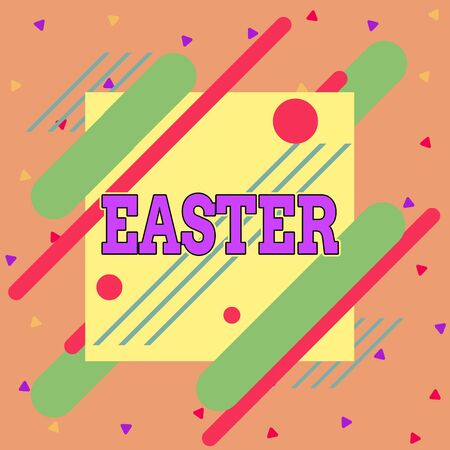 Handwriting text writing Easter. Conceptual photo the most important and oldest festival of the Christian Church Asymmetrical uneven shaped format pattern object outline multicolour design