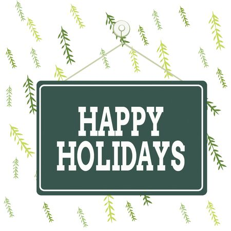Handwriting text Happy Holidays. Conceptual photo greeting used to recognize the celebration of analysisy holidays Colored memo reminder empty board blank space attach background rectangle Stockfoto