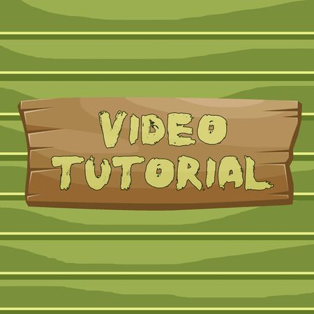 Conceptual hand writing showing Video Tutorial. Concept meaning method of transferring knowledge through audiovisual clips Wooden board rectangle shaped wood attached color background