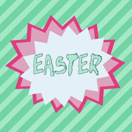 Conceptual hand writing showing Easter. Concept meaning the most important and oldest festival of the Christian Church Asymmetrical uneven shaped pattern object multicolour design