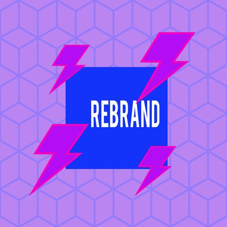 Writing note showing Rebrand. Business concept for Change corporate image of company organization Marketing strategy Asymmetrical format pattern object outline multicolor design